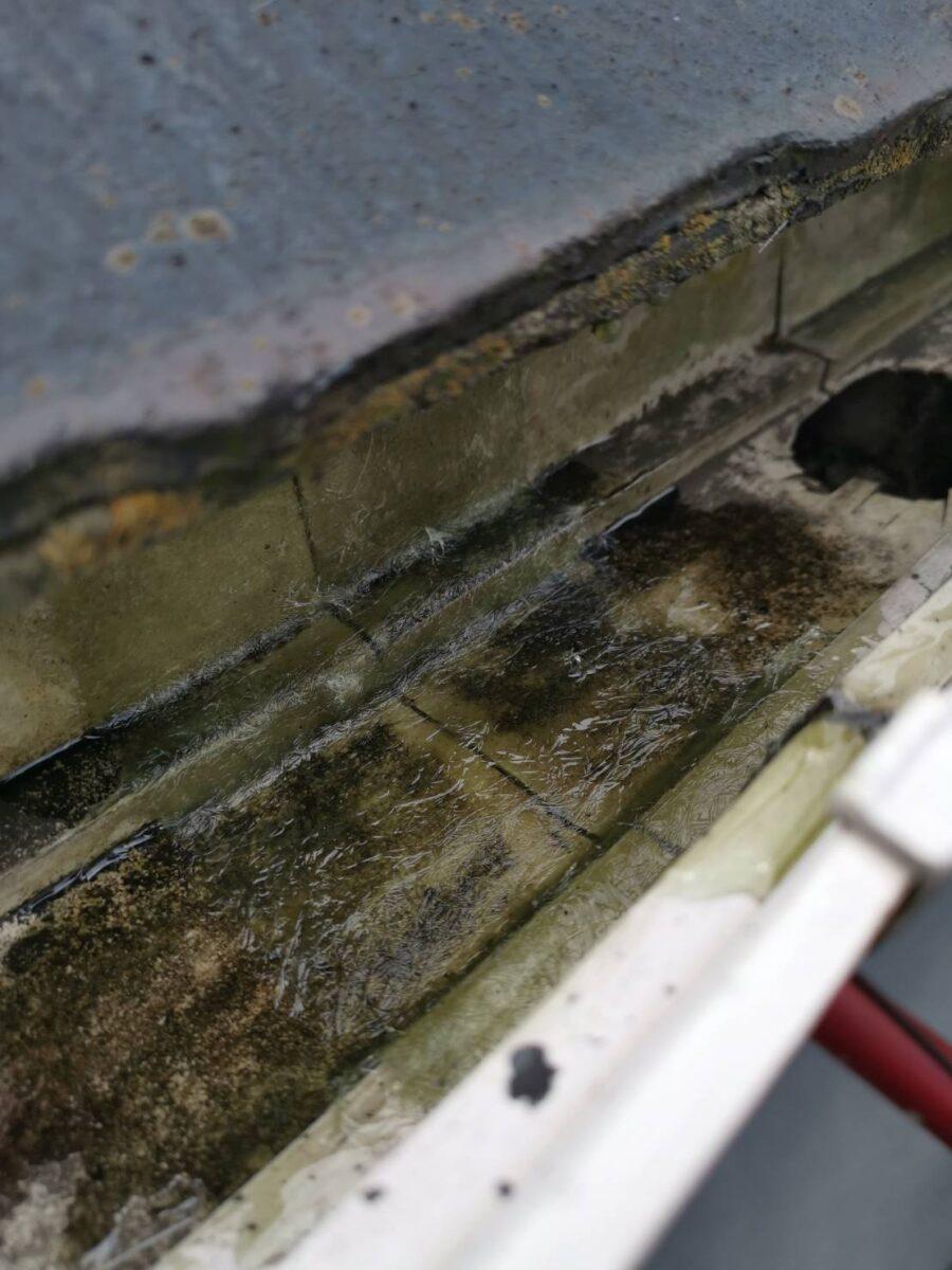 雨樋のプライマー塗布後の画像